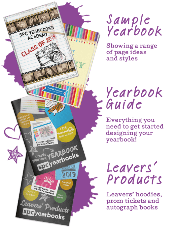 In your sample pack you'll find a sample yearbook with a range of ideas and styles, your yearbook guide, and a brochure of leavers' products